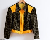 brown and orange polka dot 1970s zip up jacket