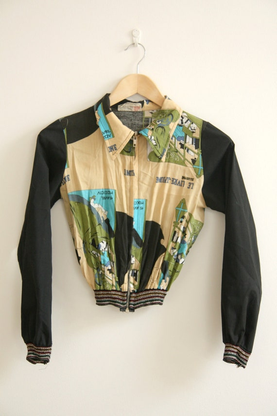 1980s french cafe scene printed zip up jacket  - extra small