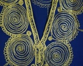 70s Vintage Embroidered Gold / Royal Blue Ethnic Caftan / Maxi dress