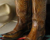 Mens Vintage Leather Western Cowboy Boots 70s, Fancy Brown Distressed Durango Size 8