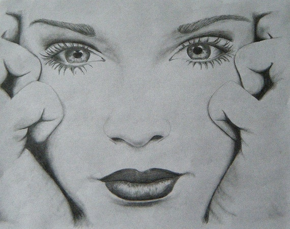 FOR SALE Pencil Drawing of Girl / Female Face 11X8.5 Black and
