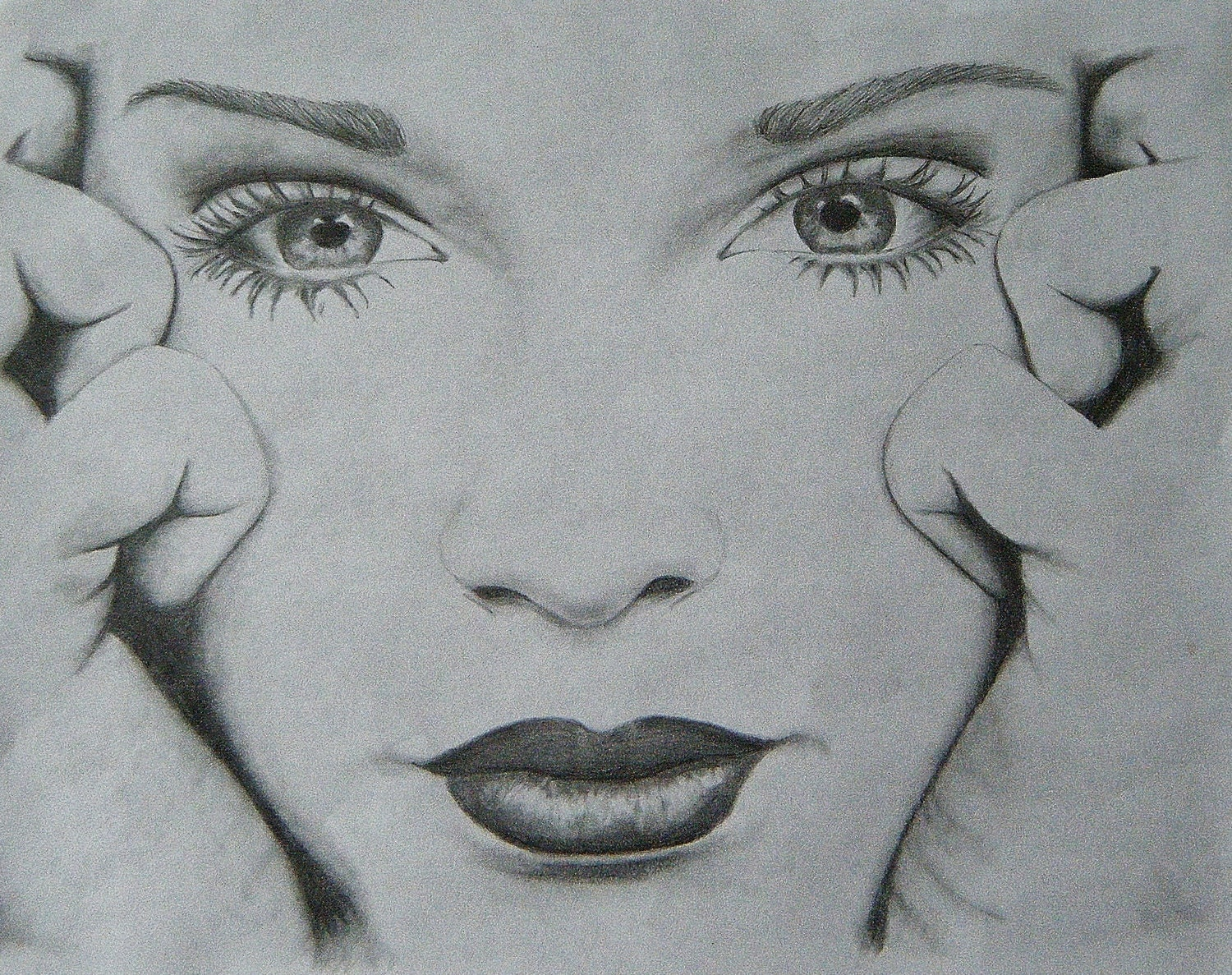 For sale pencil drawing of girl female face 11x8 5 by yololive