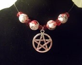 Pentacle Necklace with White & Firestone Red Beads