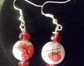 White & Firestone Red Beaded Earrings