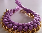 SALE Braided chain and cotton bracelet SALE