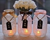 Lace Mason Jars with chalkboard tags - wedding table numbers, shower table numbers, rustic charm