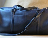Leather navy blue travel weekend bag handmade