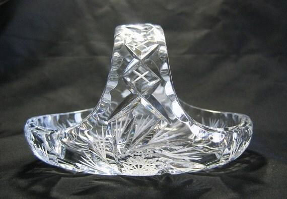 Vtg. CZECH Hand Cut Crystal Bride's Basket Republic Bohemian 24% PbO SKLO