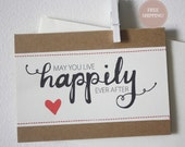 Wedding Stitched Greeting Card: 'May You Live Happily Ever After'