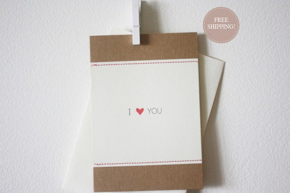 I heart You Blank Stitched Greeting Card