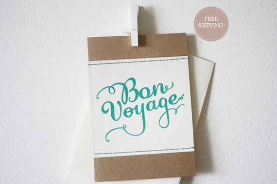 Bon Voyage - Farewell Stitched Greeting Card. (by Papette)