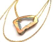 Sunglow Titanium Druzy 14K Gold Plated Necklace