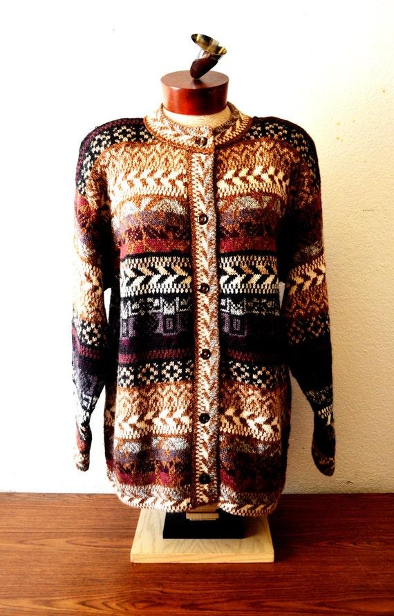 AY, tribal/southwestern/ethnic design, 100% Alpaca button up Sweater/Cardigan