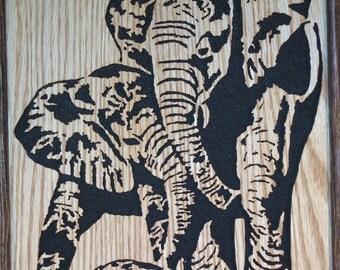 Beautiful Scroll Saw Art, Elephants and Turtle Tortoise, Framed Wall Art