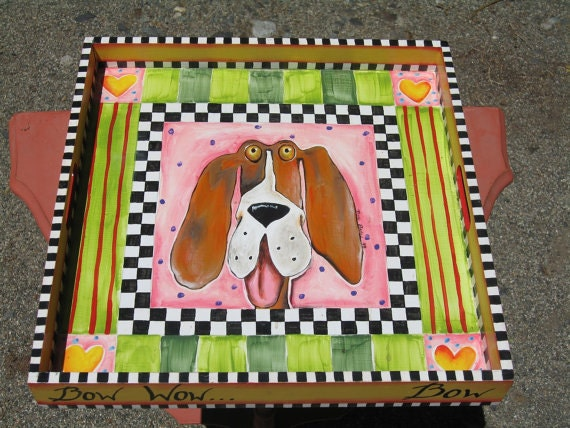 Hand Painted Wooden Serving Tray Beth Baker Artist Whimsical Hound Dog Home Decor Free Priority SHIPPING iNCLUDED