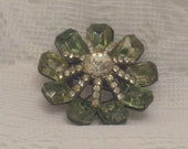 Vintage Rhinestone Brooch, Crystal Clear and Light Green Stones