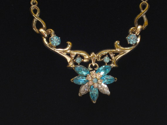 Vintage Rhinestone Necklace, Blue and Crystal