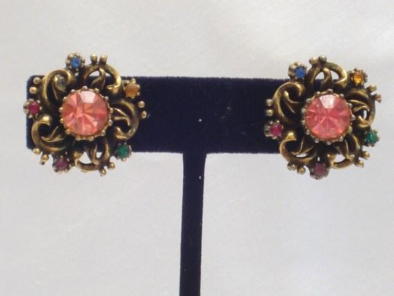 Vintage Coro Earrings, Rhinestones