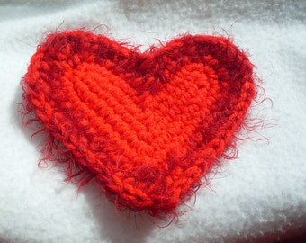 """Heart Applique Hot Red and Red Eyelash Yarn 4""""x5"""""""