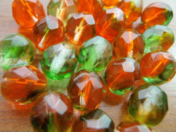 Orange in the Forest Multifaceted Barrel Cut Czech Glass Beads 8mm