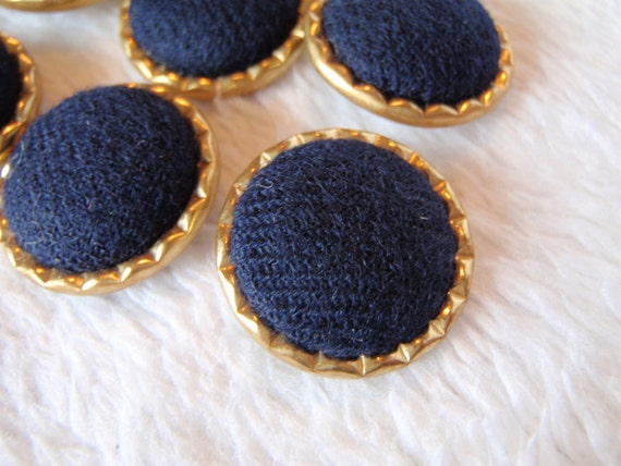10 Navy Blue and Gold 18mm Plastic and Fabric Round