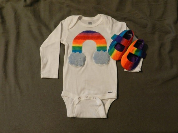 Somewhere Over The Rainbow Baby Booties and Onesie
