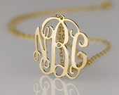 Monogram necklace - 2 inch Personalized Monogram - 925 Sterling silver 18k Gold Plated