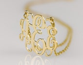 Monogram necklace - 1.75 inch Personalized Monogram - 925 Sterling silver 18k Gold Plated