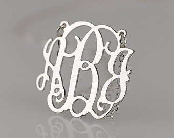 Monogram necklace - 1.75 inch Personalized Monogram - 925 Sterling silver