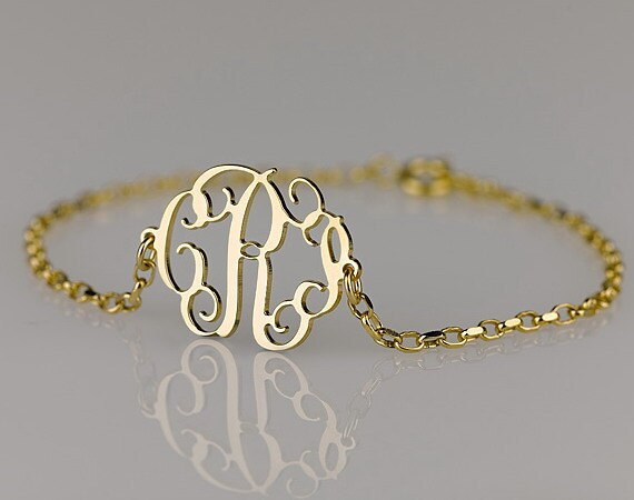 Monogram Bracelet 1.2 inch , Side attached on 18k Gold Plated over Sterling Silver