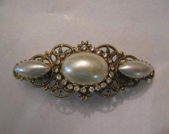 Filigree barrette pearl rhinestone victorian vintage art deco art nouveau wedding bridal bridesmaid every day
