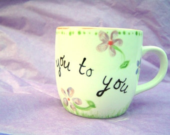Hand painted cup with thank you message