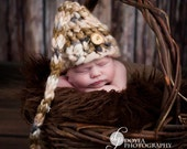 "Knit ""Sleepy Elf Long Tail"" Brown/Cream Boys Hat Wood Button Newborn Photo Prop READY TO SHIP"