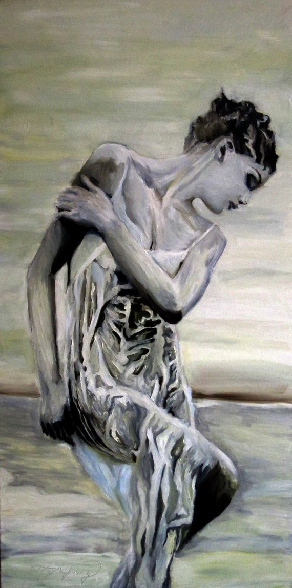 "Draped Figure in Oil, 24"" x 48"""