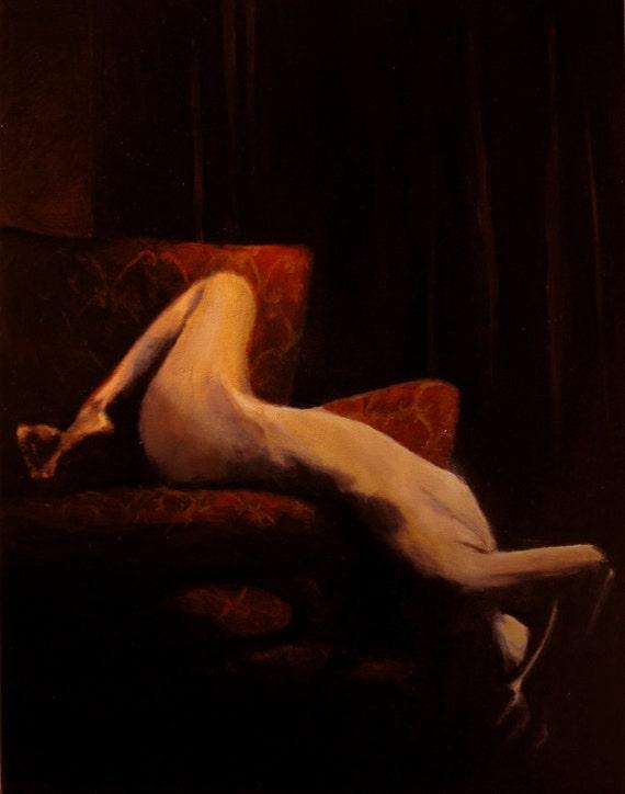 """Woman on Sofa, Oil on Board, 20"""" x 24"""""""