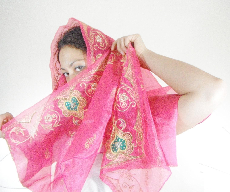 pink silk scarf silk sari scarf india scarf