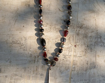 Funky Red, Silver, and Black Necklace with Metal Cone Pendant