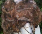 Hand Felted Natural Alpaca Scarf with Dreadlocks