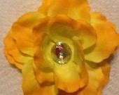 Yellow flower hair accessory