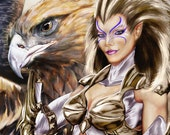 Valkyrie 8.5 x 11 fine art print. Warrior Angel and Eagle mount.
