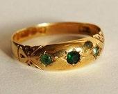 Antique 15K Gold Ring Art Deco Emerald Stone Jewellery Eengagement Bridal Fine Wedding