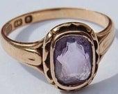 Antique Victorian Rose Gold Ring 15ct Amethyst Stone Bridal Engagement Wedding K