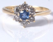 Antique Ceylon Sapphire 18k Gold Diamond Ring Wedding Engagement Bridal Jewelry