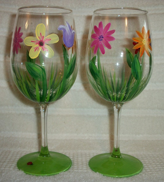 Items Similar To Hand Painted Single Floral Wine Glass