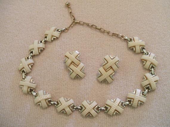 REDUCED Kramer Vintage Cream Celluloid Necklace & Earrings Set Signed, 50% off