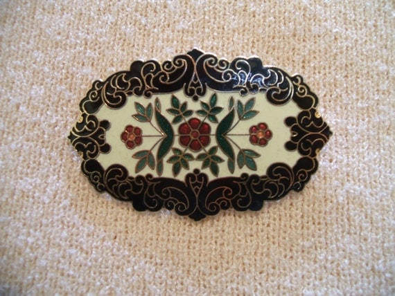SUMMER SALE until end of August :o) Pretty Signed Black and Cream Enamel Brooch by Fish