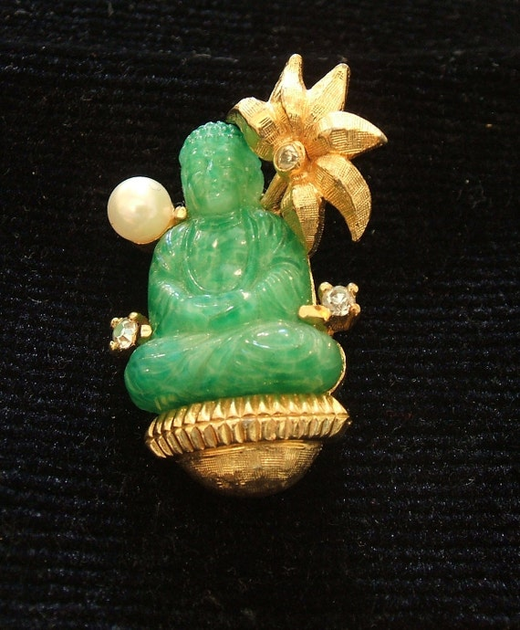 REDUCED Jomaz signed Faux Jade Buddha Pin Brooch, 25% off