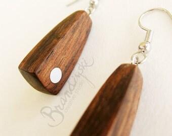 WOODEN EARRINGS - Original Handmade Wooden earrings - ebony and aluminum