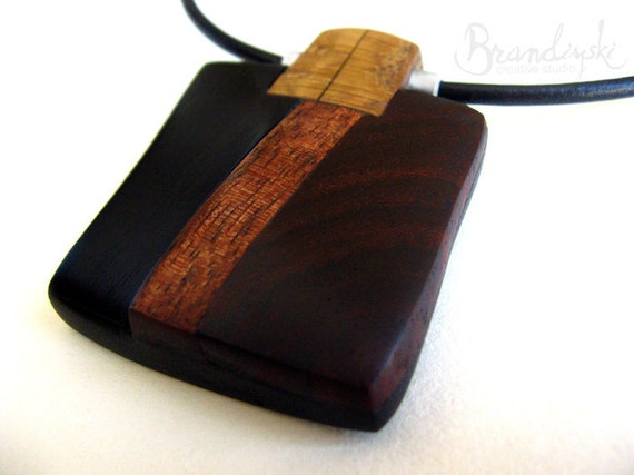 WOODEN JEWELRY - Unique Designed Wooden Necklace - exotic black and brown ebony, rose wood, oak wood, aluminum element, 3mm leather cord