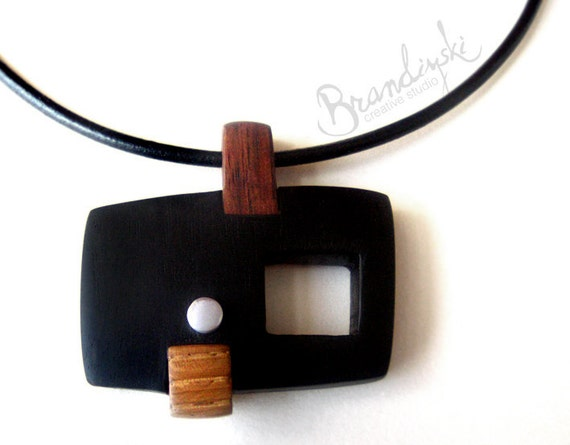 WOODEN JEWELRY - Unique designed Wooden Necklace - exotic black and brown ebony, oak, aluminium detail, 3mm leather cord